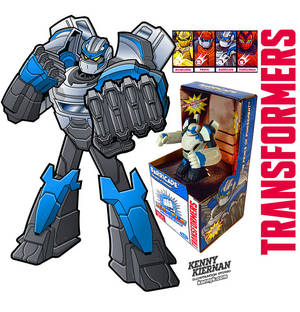 Transformers toy packaging art by Kenny Kiernan