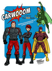 Carwooom Superheroes advertising by Kenny Kiernan