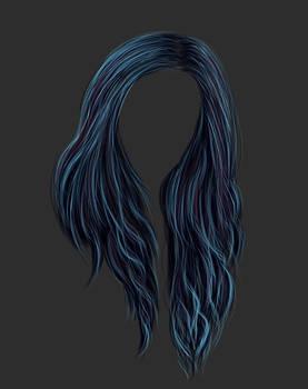 Painted Dark Blue Hair Stock