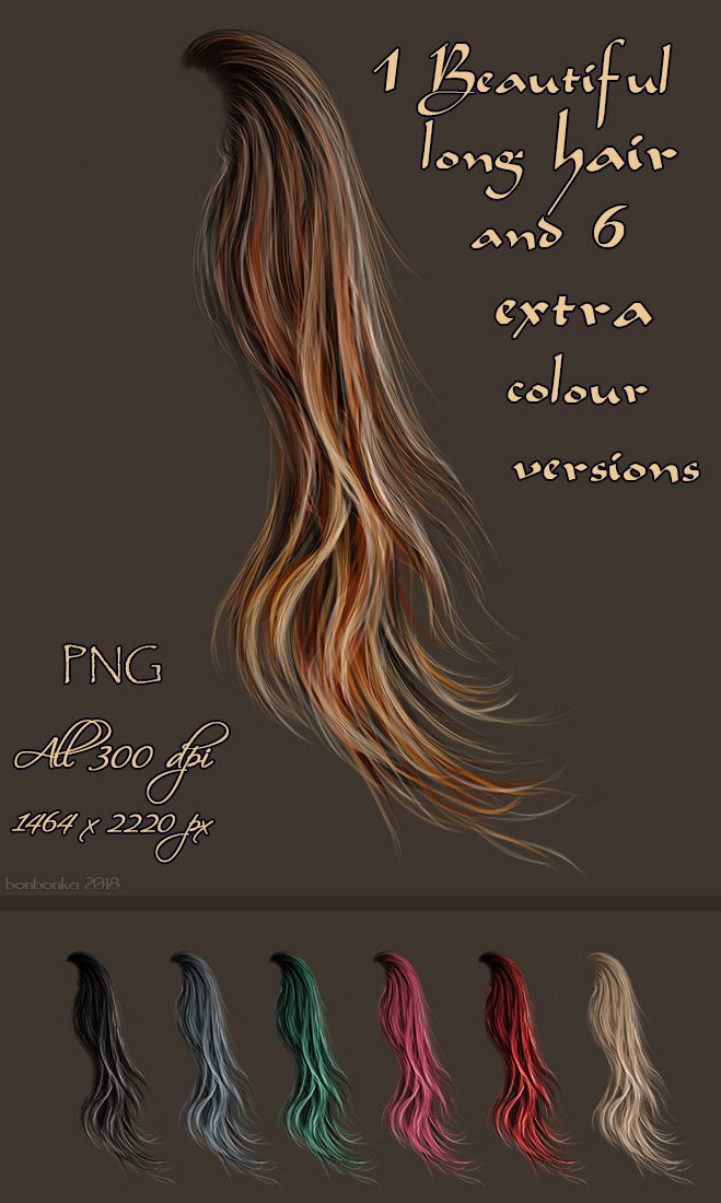 Painted Long Windy Hair Stock by bonbonka