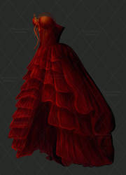 Blood Red Painted Dress Stock by bonbonka