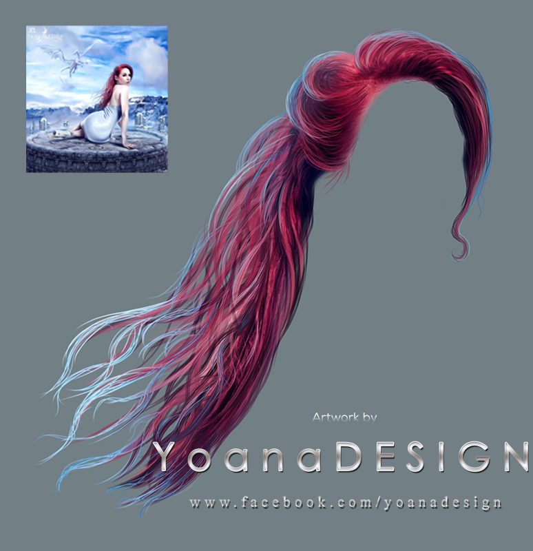 Painted Red Windy PNG Hair Stock