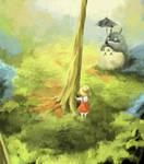 Miyazaki fan art - TOTORO by Azertip