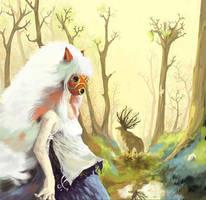 Mononoke Hime fan art by Azertip
