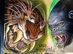 gorilla tiger tattoo flash
