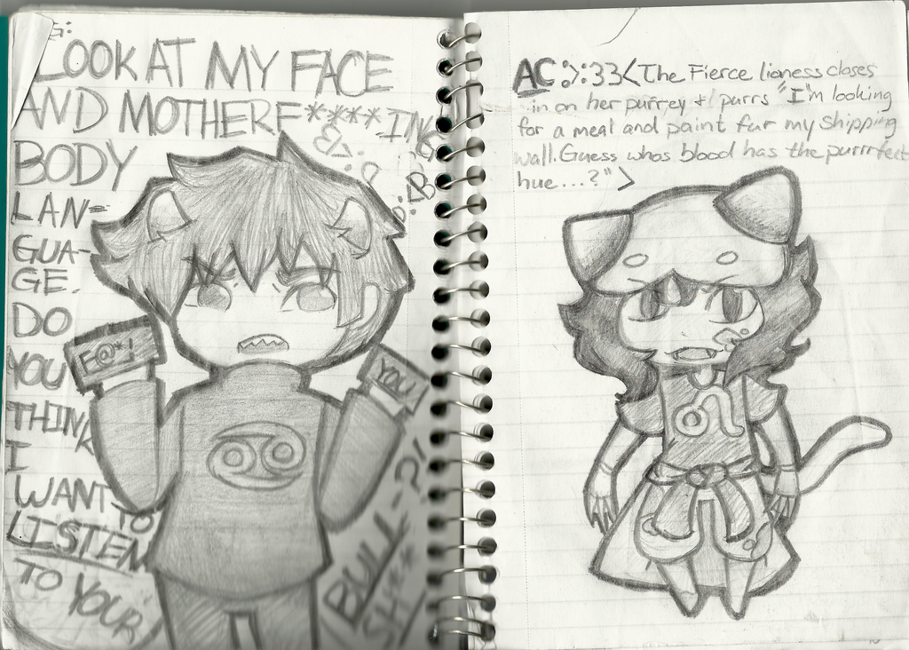 Drawing With Notebook Lines : Karkat and nepeta notebook drawings by thecherrygoldfish