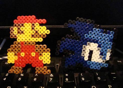 8-Bit Mario + Sonic Life Icon Commission
