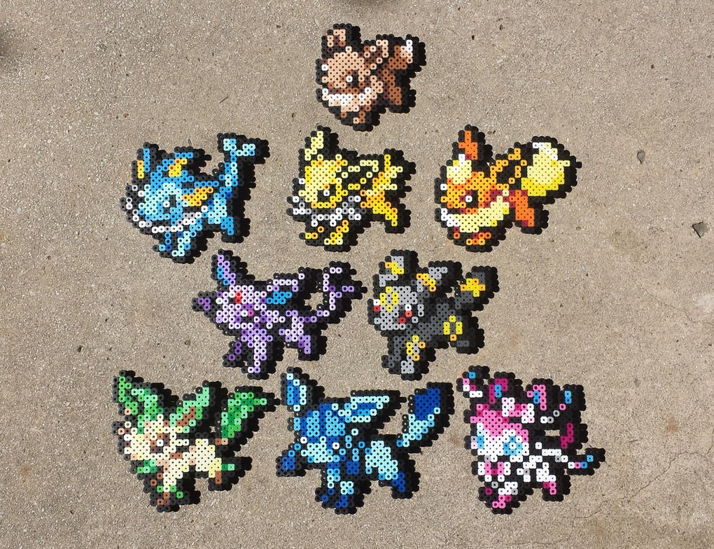 eeveelutions pokemon perler bead sprites by maddogscreations on