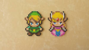 Link + Zelda - LoZ: Minish Cap Perler Bead Sprites by MaddogsCreations