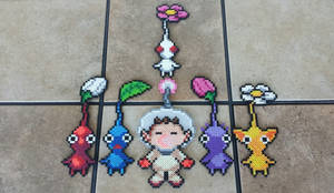 Captain Olimar + Pikmin - Perler Bead Sprite Set by MaddogsCreations