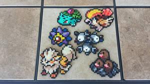 Commission: Pokemon Team Perler Bead Sprites