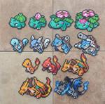 Gen I Starters - Pokemon Perler Bead Sprites
