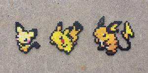 Pikachu Family - Pokemon Perler Bead Sprites