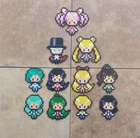Chibi Senshi - Sailor Moon Perler Bead Sprites by MaddogsCreations