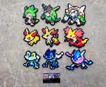 Kalos Starters - Pokemon Perler Bead Sprites