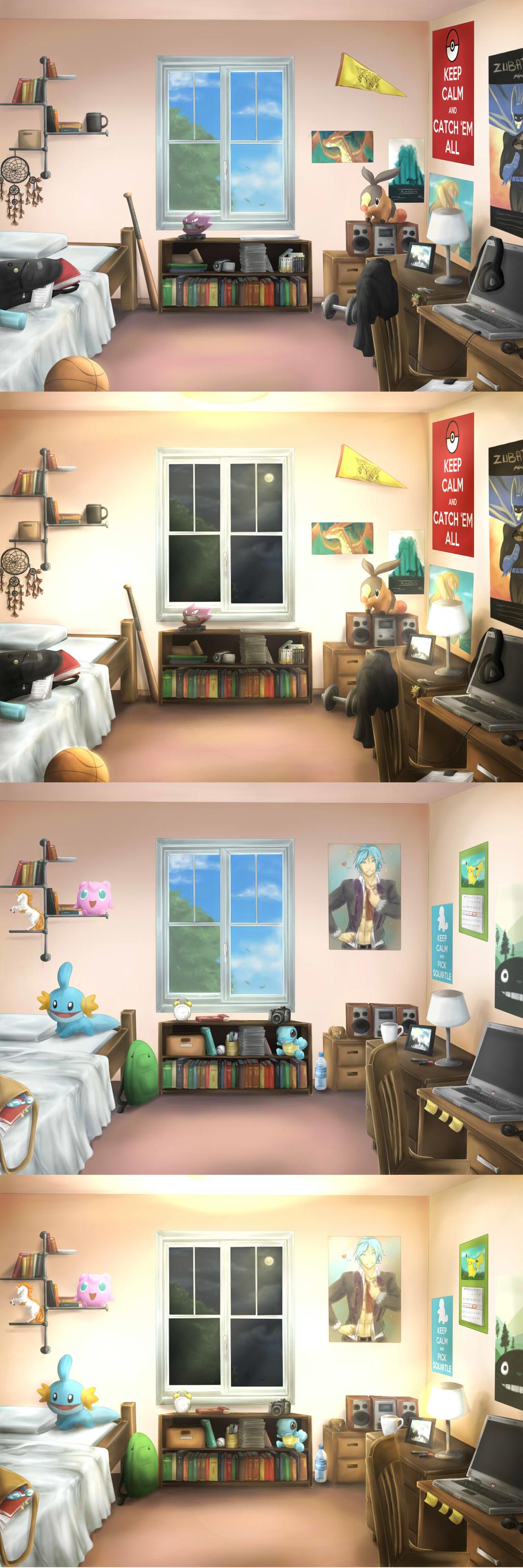 Nuzlocke VN Collab: Dorm rooms by Antarija
