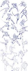 Battle/action poses by Antarija