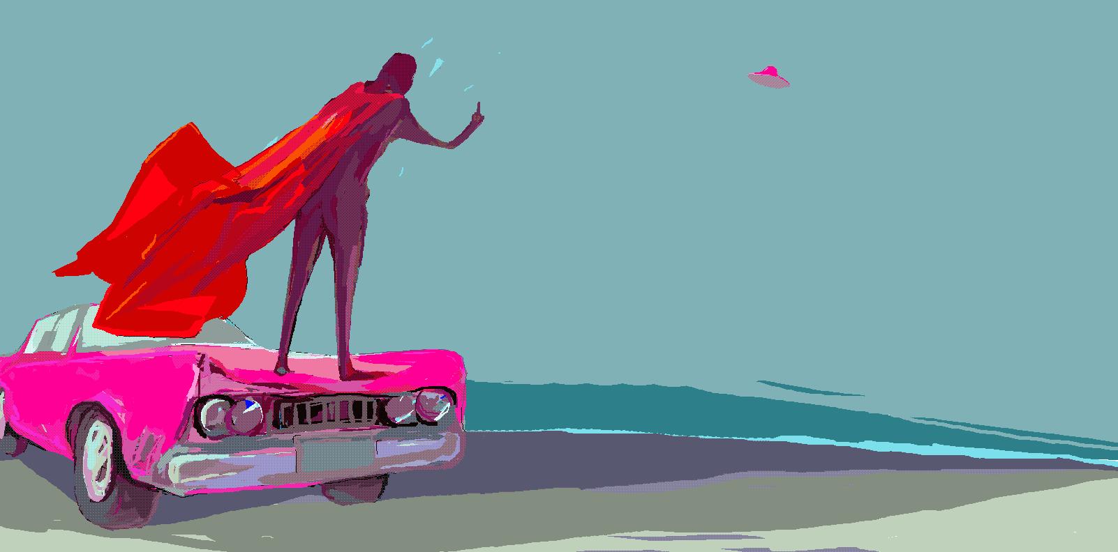 super hero says goodbye to UFO