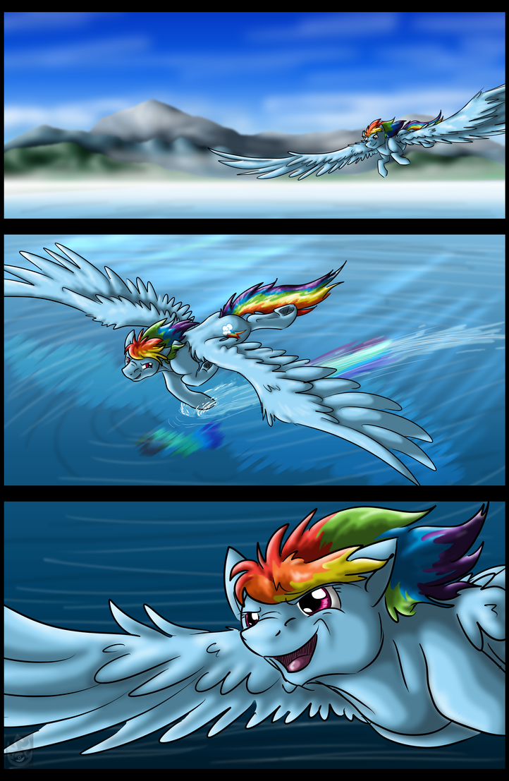 Lake Flight by StormBlaze-Pegasus