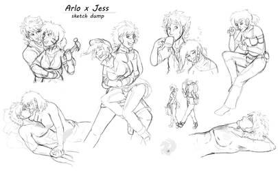Arlo x Jess ship sketch dump