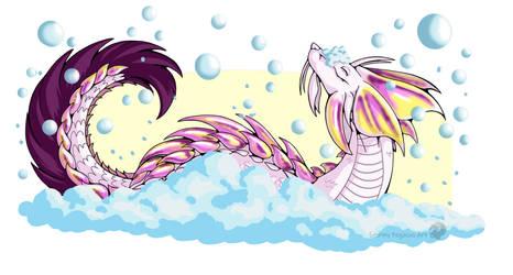 Bubble dragon bath time