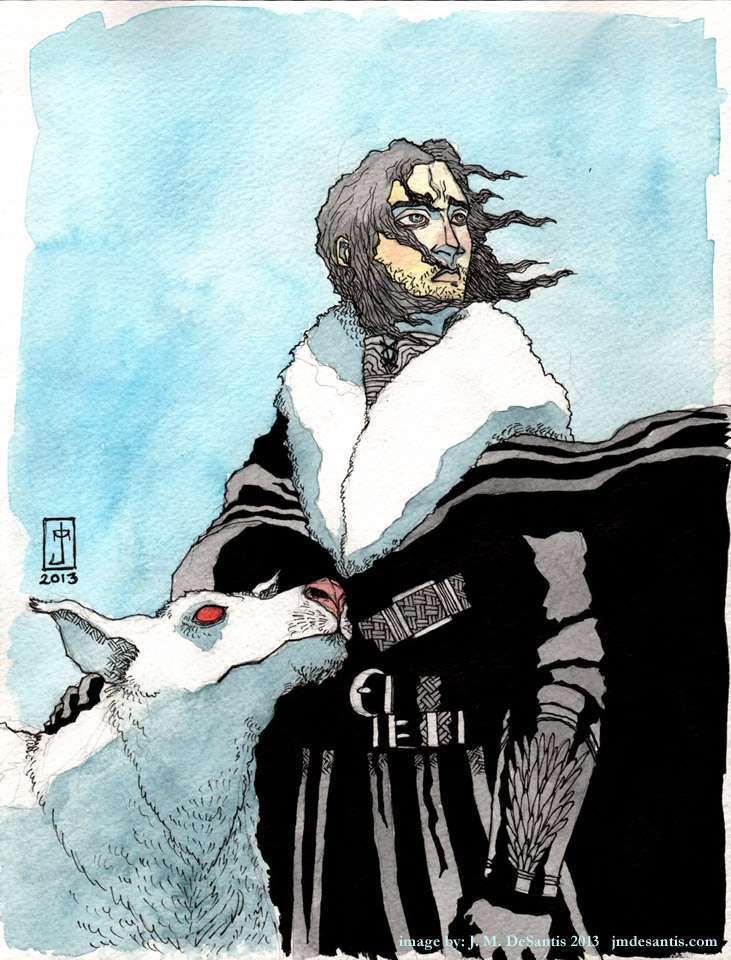 Jon Snow and Ghost commission by jmdesantis