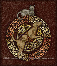 Celtic Cat and Dog by foxvox