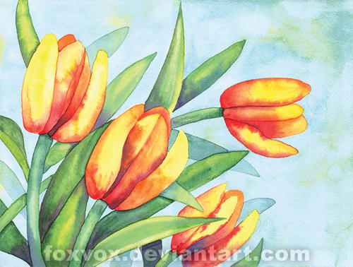 Tulips Watercolor by foxvox on DeviantArt