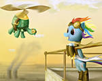 Steampunk Rainbow Dash and Tank by SubjectNumber2394