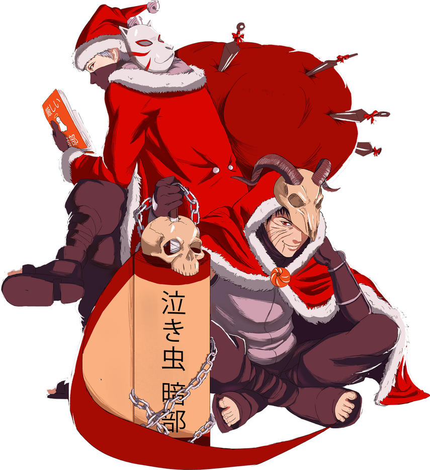 Krampus!Obito and Santa!Kakashi by getitdonehuhu