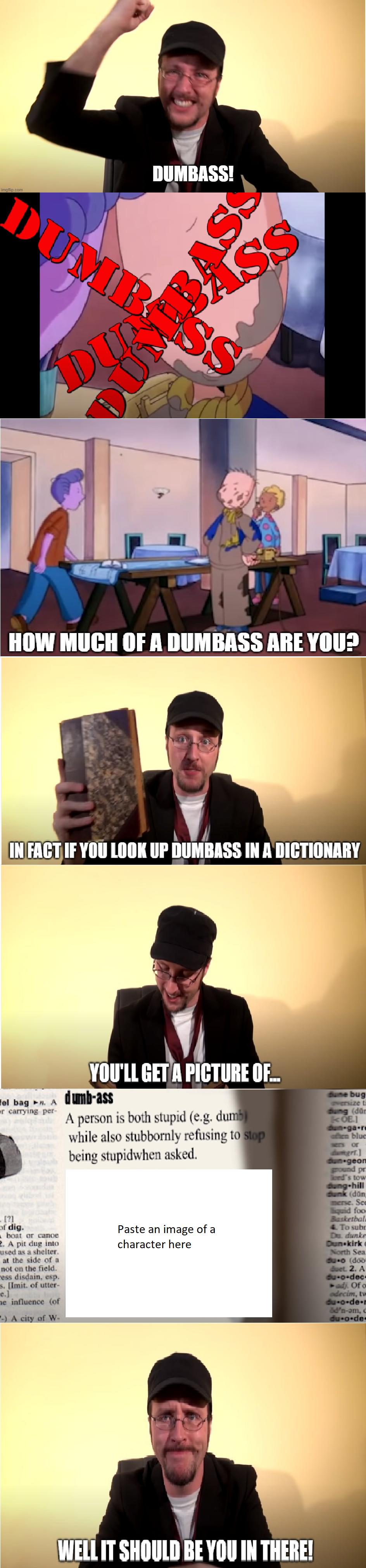 Nostalgia critic dictionary meme (blank)