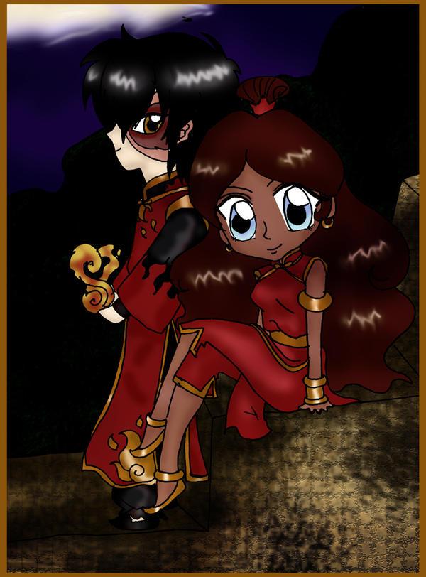 Chibi Fire Nation Zutara by Royal-Maiden