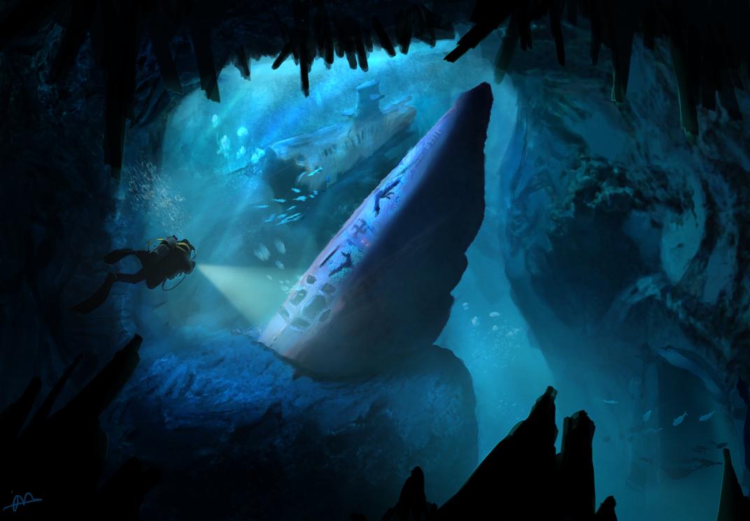 Underwater Environment - Sunken U-Boat by H3KATE