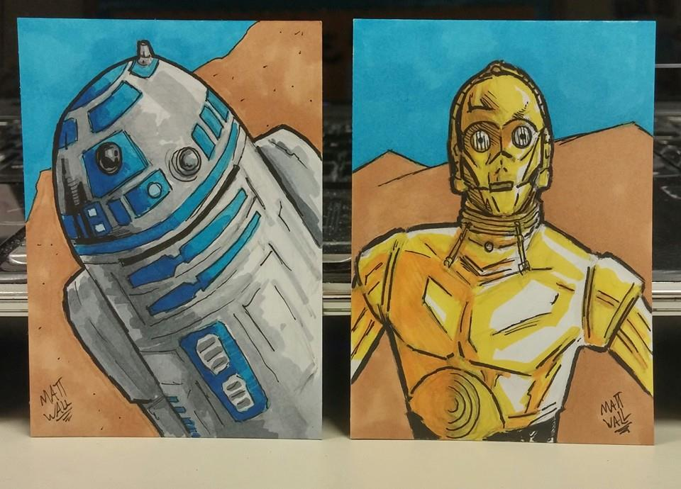 R2d2 And C3po Drawing R2D2 and C3PO sketch cards by
