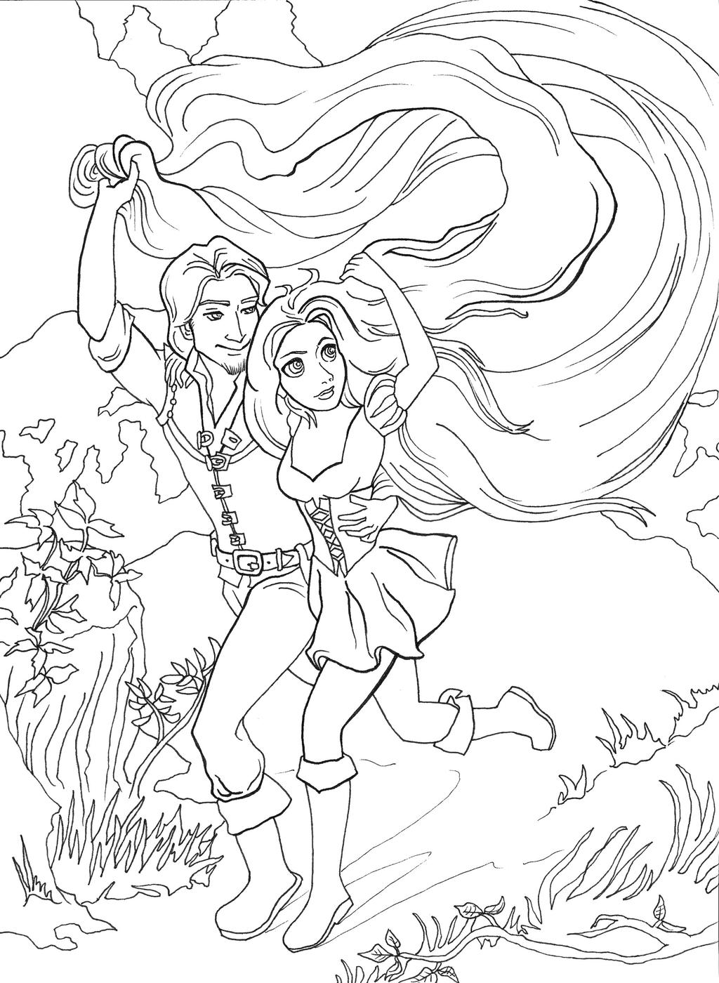 Disney princesses group coloring pages