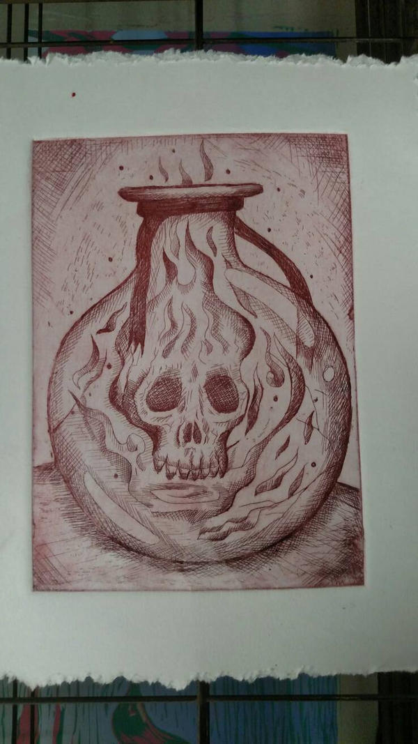 skull etching by tadams4