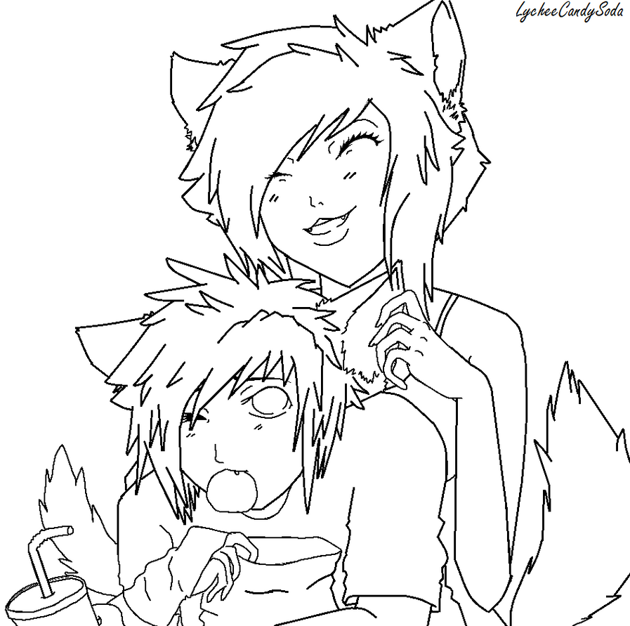 Line Art Couple : Neko couple line art by lycheecandysoda on deviantart