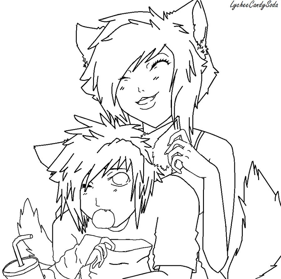 Line Drawing Couple : Neko couple line art by lycheecandysoda on deviantart