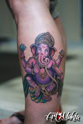 Colorful Ganesha Tattoo by ArtMakia