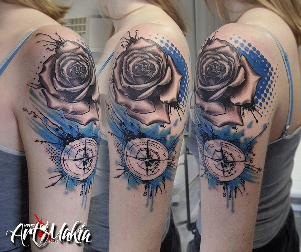 Amato Rose Compass Polka Trash Tattoo by ArtMakia on DeviantArt XL38