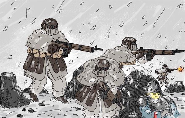 Brown-clad in snow by jailgurdnegative