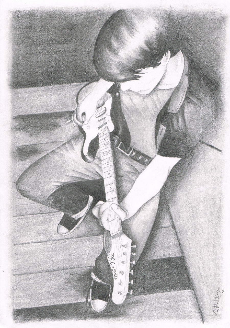 Guitar guy by EvanescentLaycrimose on DeviantArt Boy With Guitar Drawing