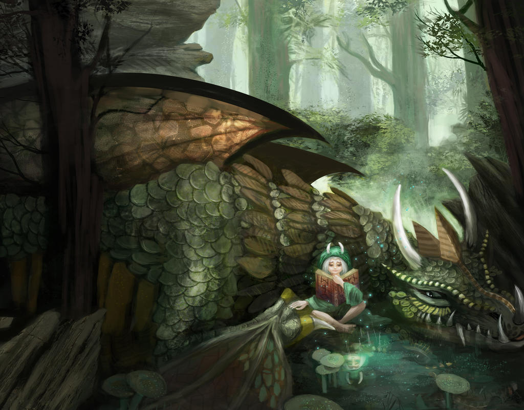 The forest dragon by aStripedUnicorn
