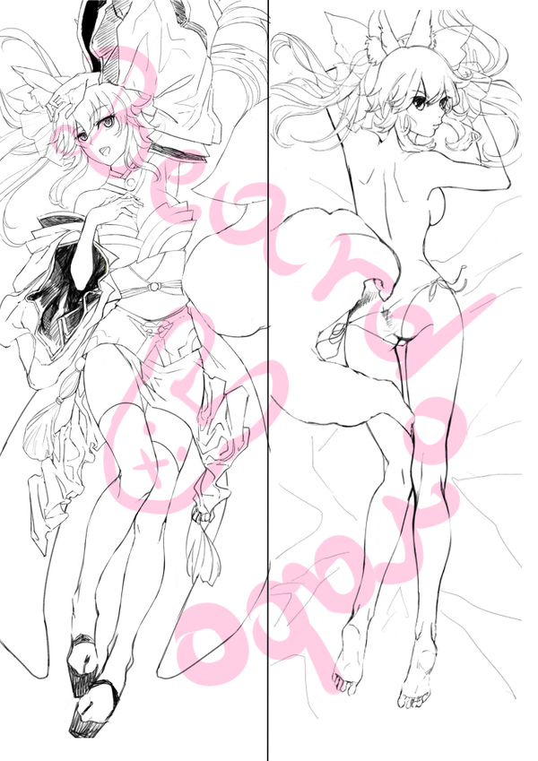 Tamamo-no-mae dakimakura project by Beardorado