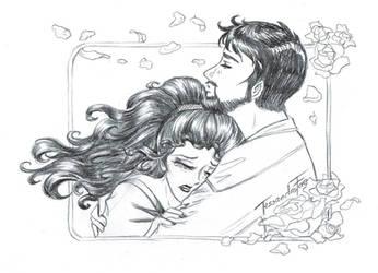 Troi and Riker say Goodbye - Manga sketch by TessandraFae