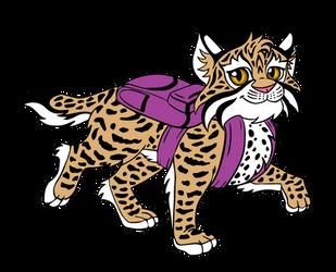 Bobcat wearing a Backpack by TessandraFae