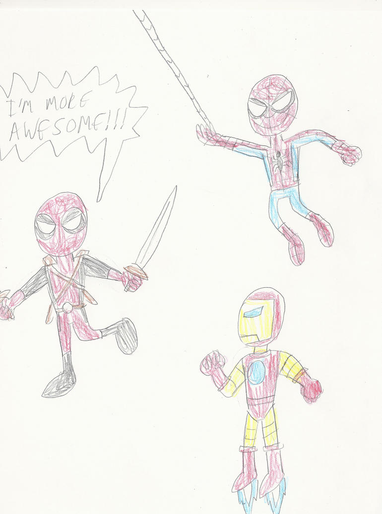 Spidey and Iron Man vs Deadpool by mastergamer20
