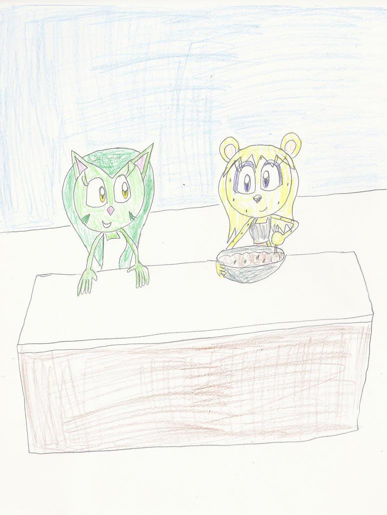 AT: Kira and Kiara baking cookies by mastergamer20