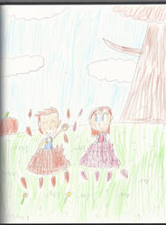 AT: Scott and Alberta playing on the leaves by mastergamer20