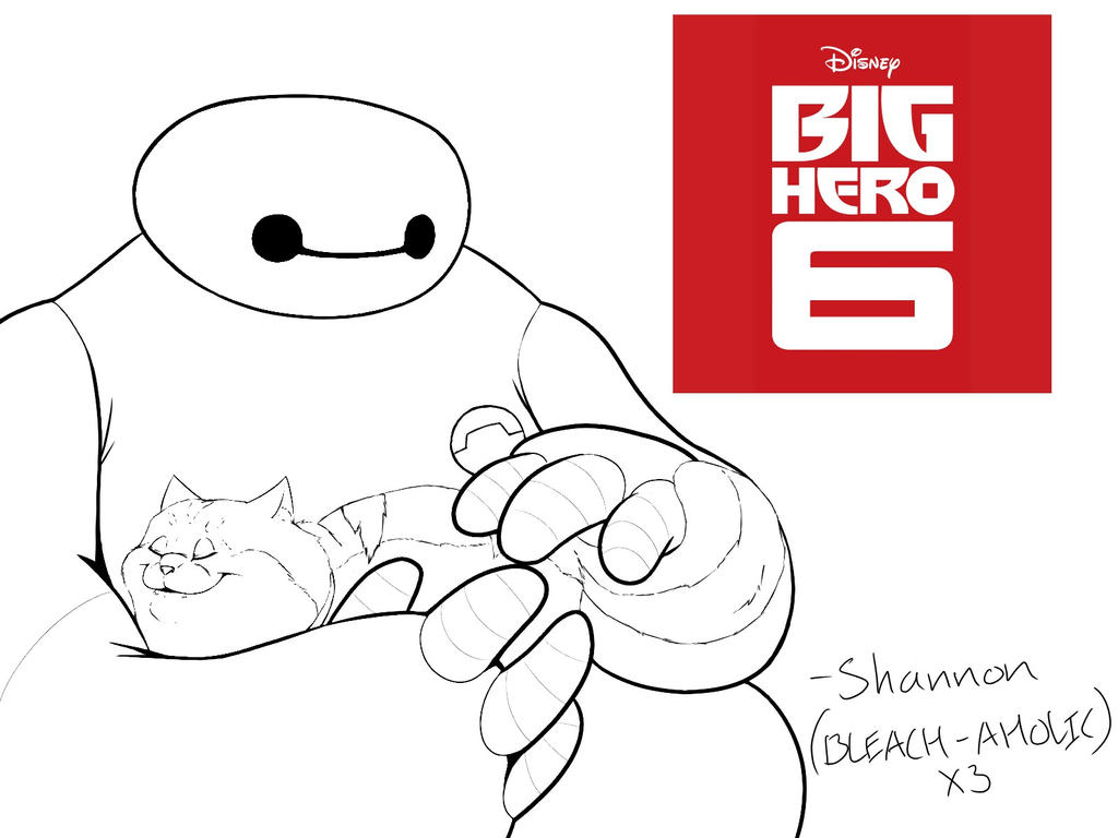 big hero 6 baymax n mochi lineart by bleach aholicx3